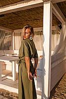 Женское Платье летнее льняное(100% лен мешковина) в размерах 42-46,46-50