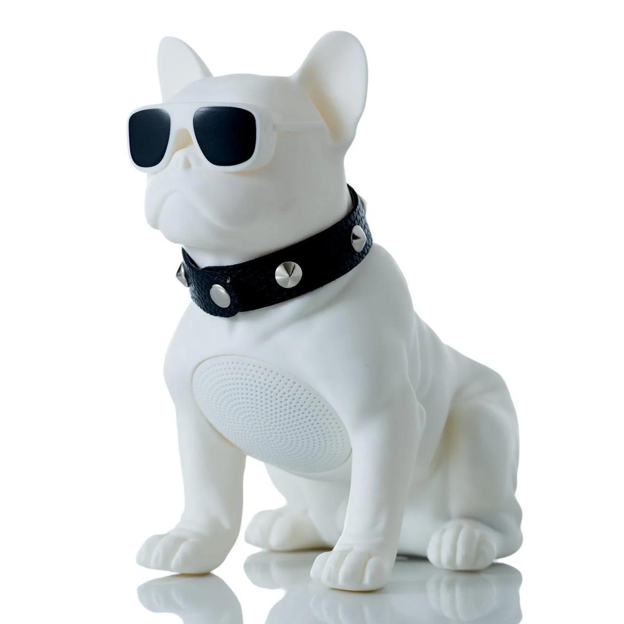 🔝 Беспроводная блютуз колонка в виде собаки (бульдога) белый, переносная музыкальная bluetooth  | 🎁%🚚