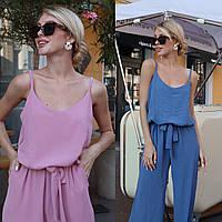 Женский прогулочный легкий костюм хаки пудровый джинсовый майка брюки креп жатка 42-44 46-48 синий розовый