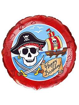 Шарик круглый фольгированный Пираты Happy Размер 46 см х 46 см