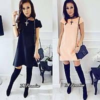 Женское летнее стильное короткое платье черное персиковое софт 42-44 44-46 молодежное повседневное
