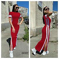 Женское летнее длинное в пол красное черное платье футболка с разрезами полосками вискоза молодежное 42-44