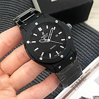 Мужские металлические часы Hublot Geneve Black, Хублот, чоловічий металевий годинник, черные