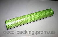 Салатовая с фисташковой нитью сетка для цветов FKF солома