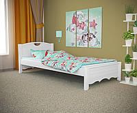 Односпальная кровать Дженни белая, массив ольхи
