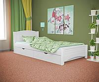 Односпальная кровать Доминика белая, массив ольхи