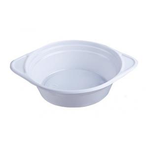 Тарелка одноразовая суповая 350 мл., 15 см., 100 шт/уп пластиковая с ручками, белая