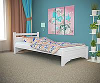 Односпальная кровать Дюпон белая, массив ольхи