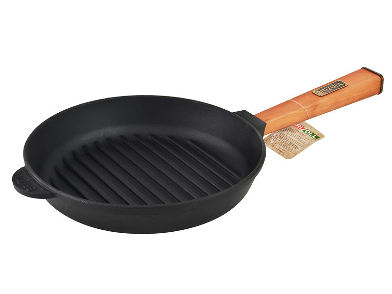 Сковорода гриль Brizoll Optima круглая 26х4 см. чугунная с ручкой (О2640Г-Р)