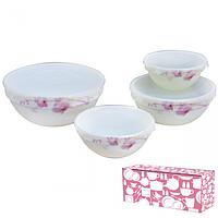 Набор салатников с крышкой 4шт (7,6,5,4.2) Розовая орхидея 61099