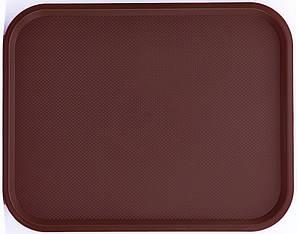 Поднос пластмассовый для фаст-фудов 45,6х35,6 см., коричневый FoREST