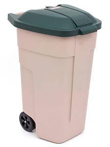 Мусорный бак на колесах 110 л., 58х52х88 см. бежевый с зеленой крышкой, пластиковый Curver