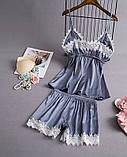 Пижама атласная женская серая П112, фото 2