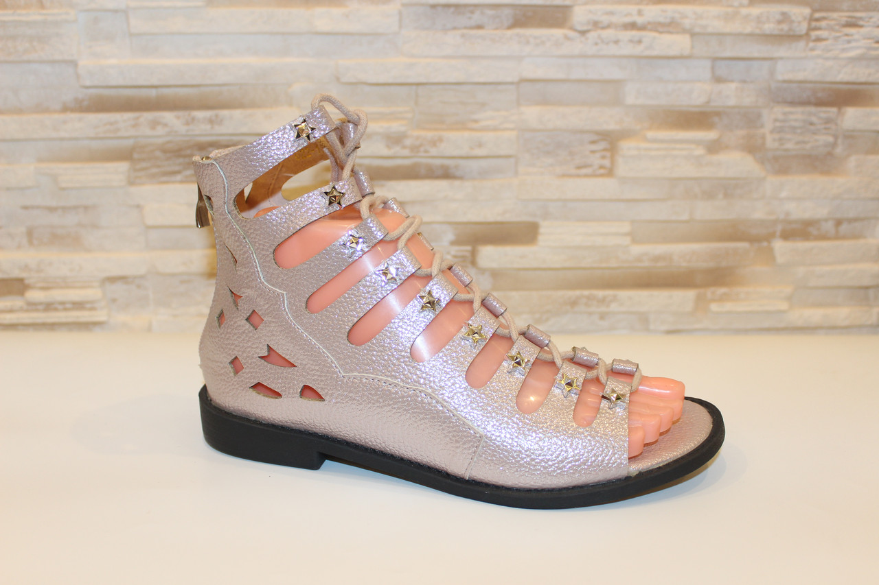 Босоніжки жіночі рожеві на шнурівці Б61