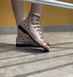 Босоніжки жіночі рожеві на шнурівці Б61, фото 4