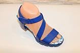 Босоножки женские синие на каблуке Б1003, фото 3