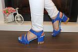 Босоножки женские синие на каблуке Б1003, фото 4