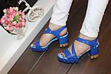 Босоножки женские синие на каблуке Б1003, фото 5