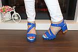 Босоножки женские синие на каблуке Б1003, фото 6