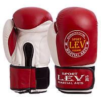 Перчатки боксерские Стрейч на липучке Лев КЛАСС красные LV-4281-R (реплика)
