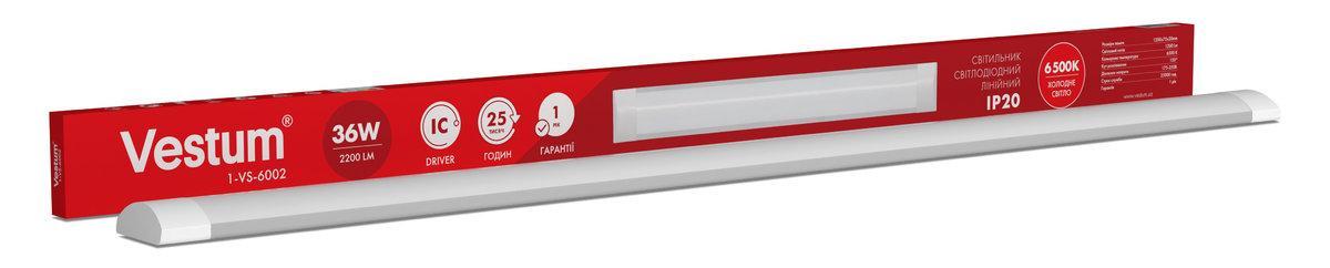 Світильник лінійний LED Vestum 1,2 м 36W 6500K 220V IP20