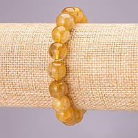 Браслет из натурального камня Кварц Волосатик на резинке гладкий шарик d-10(+-)мм обхват 18см
