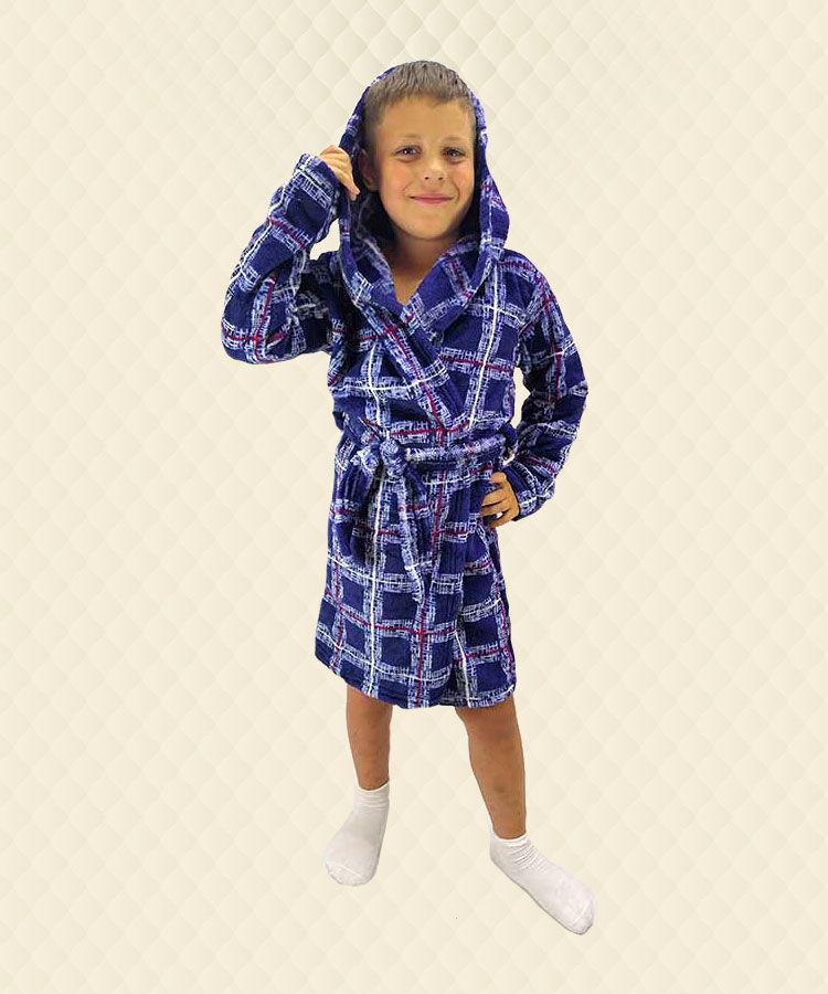 Детский халат для мальчика Kletka велсофт