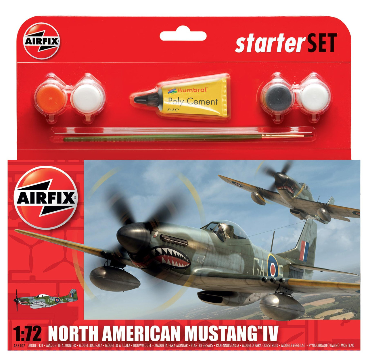 Подарочный набор. Сборная модель самолета North American Mustang IV. 1/72 AIRFIX 55107