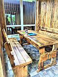 Мебель из обожженного дерева 1800х800. Браширование и обжиг мебели, фото 3