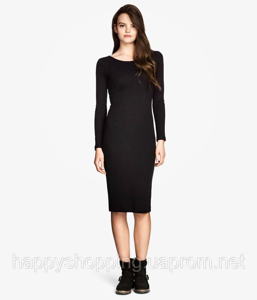 Черное платье миди H&M