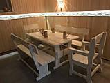 Деревянный стол 3000х1200 мм под старину ручной работы для кафе, дачи от производителя. Wood Table 19, фото 5