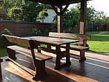Деревянный стол 3000х1200 мм под старину ручной работы для кафе, дачи от производителя. Wood Table 19, фото 7