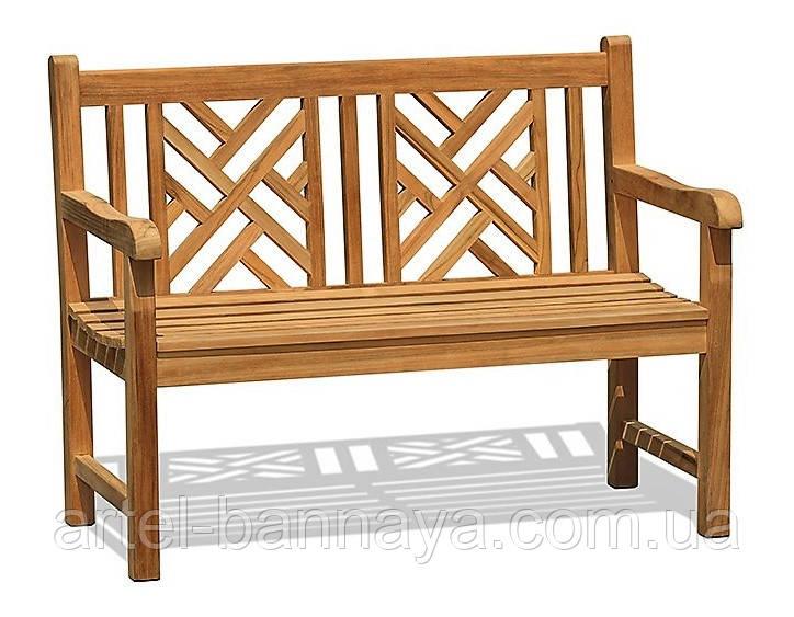 Лавочка скамья со спинкой 1200 х 650 мм. Деревянная лавка в Украине от производителя Garden park bench 13