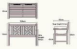 Лавочка скамья со спинкой 1200 х 650 мм. Деревянная лавка в Украине от производителя Garden park bench 13, фото 2