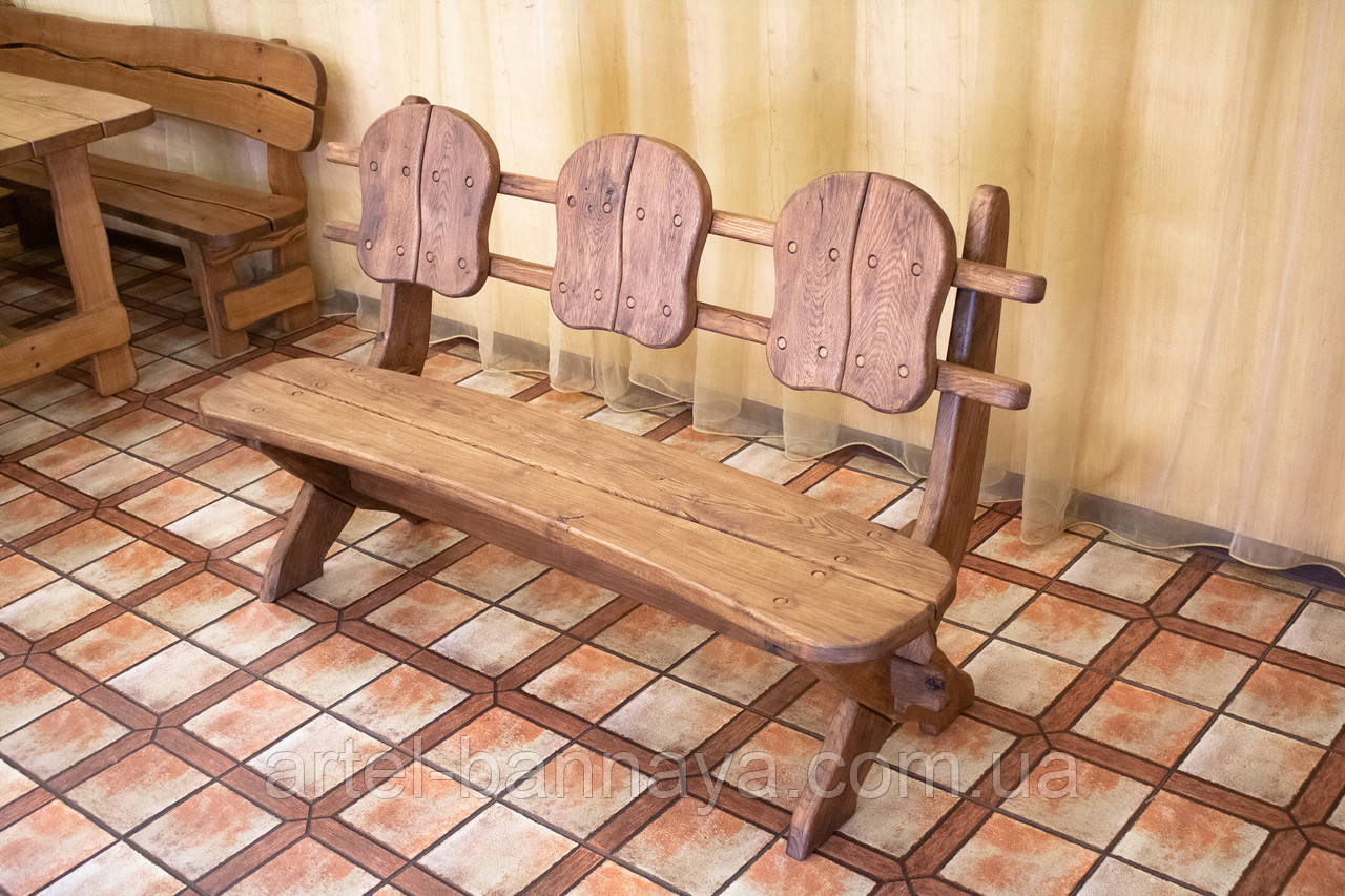 Лавочка скамья со спинкой из термодерева 1670х340 мм. от производителя Thermo-treated Oak bench 02