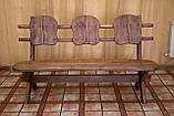 Лавочка скамья со спинкой из термодерева 1670х340 мм. от производителя Thermo-treated Oak bench 02, фото 2