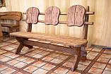 Лавочка скамья со спинкой из термодерева 1670х340 мм. от производителя Thermo-treated Oak bench 02, фото 3