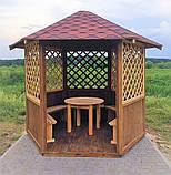 Беседка шестигранная деревянная 5,8 м2  для дачи от производителя Wood Gazebo 009, фото 2