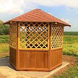 Беседка шестигранная деревянная 5,8 м2  для дачи от производителя Wood Gazebo 009, фото 4