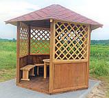 Беседка шестигранная деревянная 5,8 м2  для дачи от производителя Wood Gazebo 009, фото 6