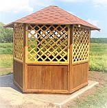 Беседка шестигранная деревянная 5,8 м2  для дачи от производителя Wood Gazebo 009, фото 8