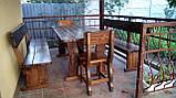 Деревянный стол 1500х800 мм под старину ручной работы для кафе, дачи от производителя. Wood Table 07, фото 10
