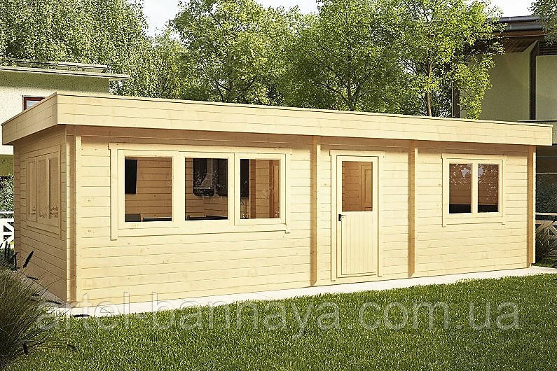 Беседка деревянная из профилированного бруса с закрытой комнатой  9х4.5 м. низкая цена от производителя