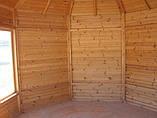Восьмигранная закрытая беседка 9 м2 из дерева для дачи от производителя Wood Gazebo 017, фото 2