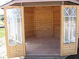 Восьмигранная закрытая беседка 9 м2 из дерева для дачи от производителя Wood Gazebo 017, фото 3