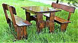 Деревянный стол 900х900 мм из массива сосны ручной работы для кафе, дачи от производителя. Wood Table 01, фото 2