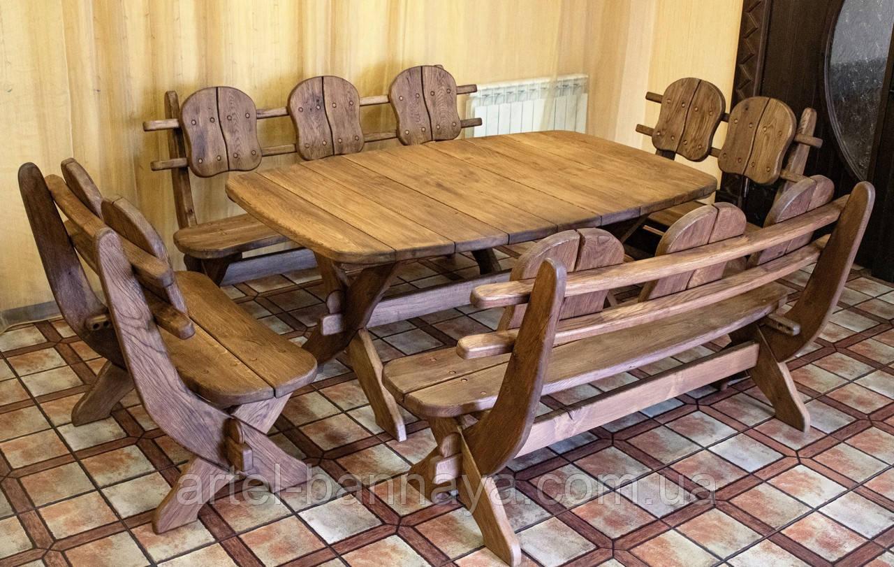 Мебель из массива дуба 1750х1100, комплект Oak Furniture 01. Стол и 4 лавки из дуба от производителя Белая