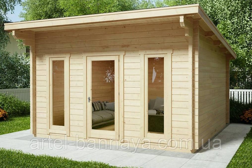 Беседка деревянная из профилированного бруса с закрытой комнатой  4х4 м. низкая цена от производителя