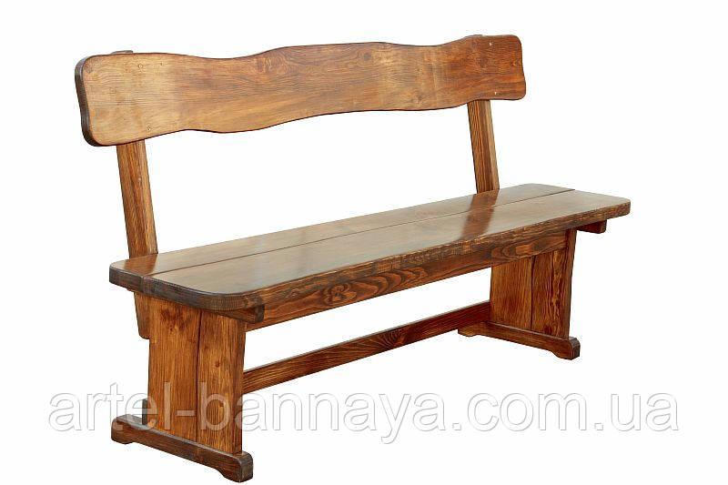 Лавка деревянная для дачи, сада, кафе, ресторана 1200*370 от производителя