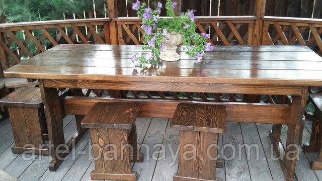 Мебель деревянная для беседки Стол 1800*800 + 4 банкетки 330*330 от производителя